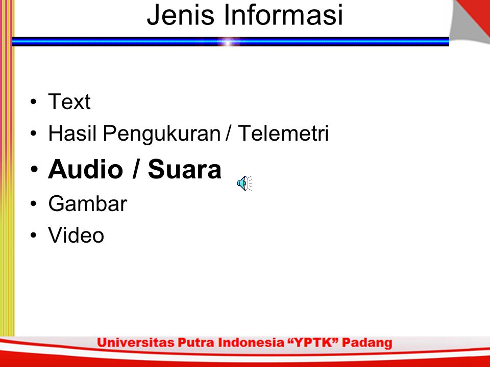 Jenis Informasi Text Hasil Pengukuran / Telemetri Audio / Suara Gambar Video This is a text as an example for those who wish to know that we can send an ASCII file over Internet or Computer Network