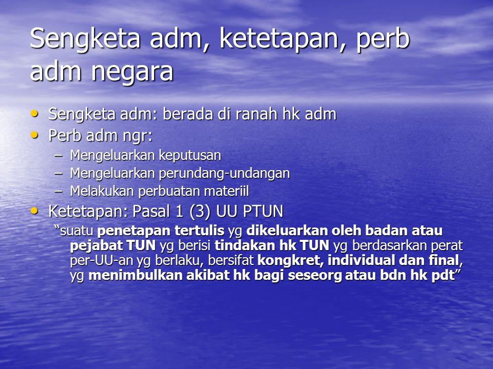 Asas IUS STANDI/LEGAL STANDING Dikenal dlm UU PLH (UU 23/1997) psl 38: hak berperkara di pgdln untuk kepentingan lingkungan.