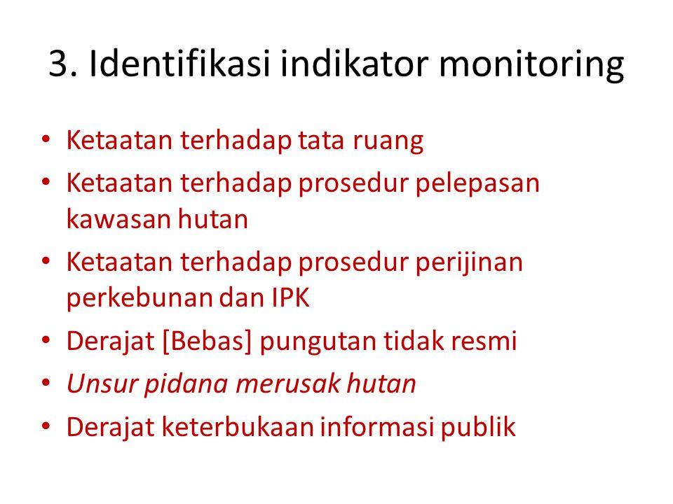 3. Identifikasi indikator monitoring Ketaatan terhadap tata ruang Ketaatan terhadap prosedur pelepasan kawasan hutan Ketaatan terhadap prosedur periji