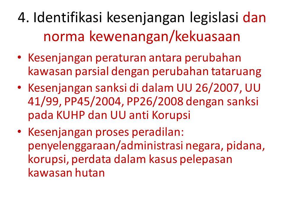 4. Identifikasi kesenjangan legislasi dan norma kewenangan/kekuasaan Kesenjangan peraturan antara perubahan kawasan parsial dengan perubahan tataruang