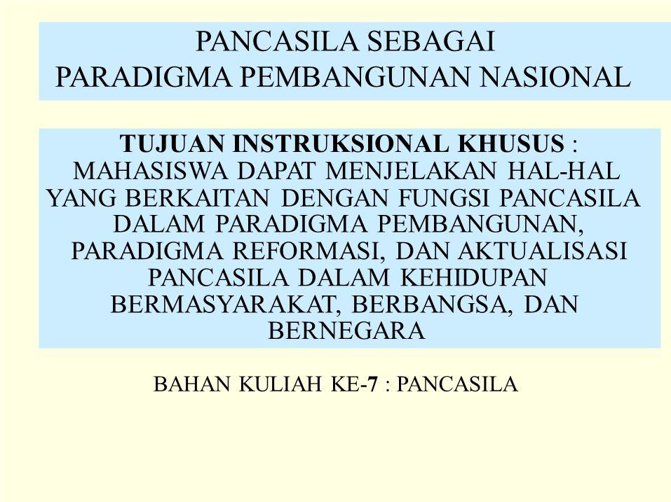 PANCASILA SEBAGAI PARADIGMA PEMBANGUNAN NASIONAL TUJUAN INSTRUKSIONAL KHUSUS : MAHASISWA DAPAT MENJELAKAN HAL-HAL YANG BERKAITAN DENGAN FUNGSI PANCASI