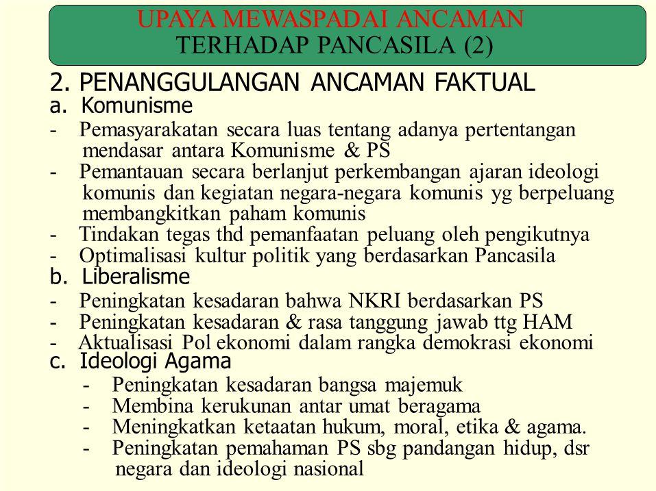 UPAYA MEWASPADAI ANCAMAN TERHADAP PANCASILA (2) 2. PENANGGULANGAN ANCAMAN FAKTUAL a. Komunisme - Pemasyarakatan secara luas tentang adanya pertentanga