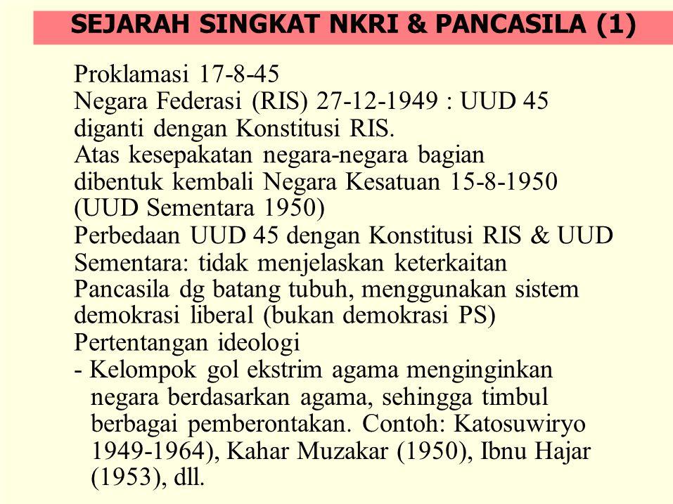 Proklamasi 17-8-45 Negara Federasi (RIS) 27-12-1949 : UUD 45 diganti dengan Konstitusi RIS. Atas kesepakatan negara-negara bagian dibentuk kembali Neg