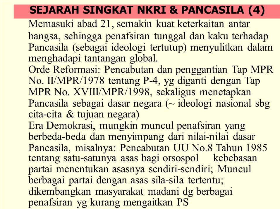 PANCASILA SEBAGAI DASAR NEGARA (1) Pancasila merupakan sumber kaidah hukum konstitusional yang mengatur negara RI serta seluruh unsur-unsurnya, yaitu rakyat, wilayah dan pemerintahan.