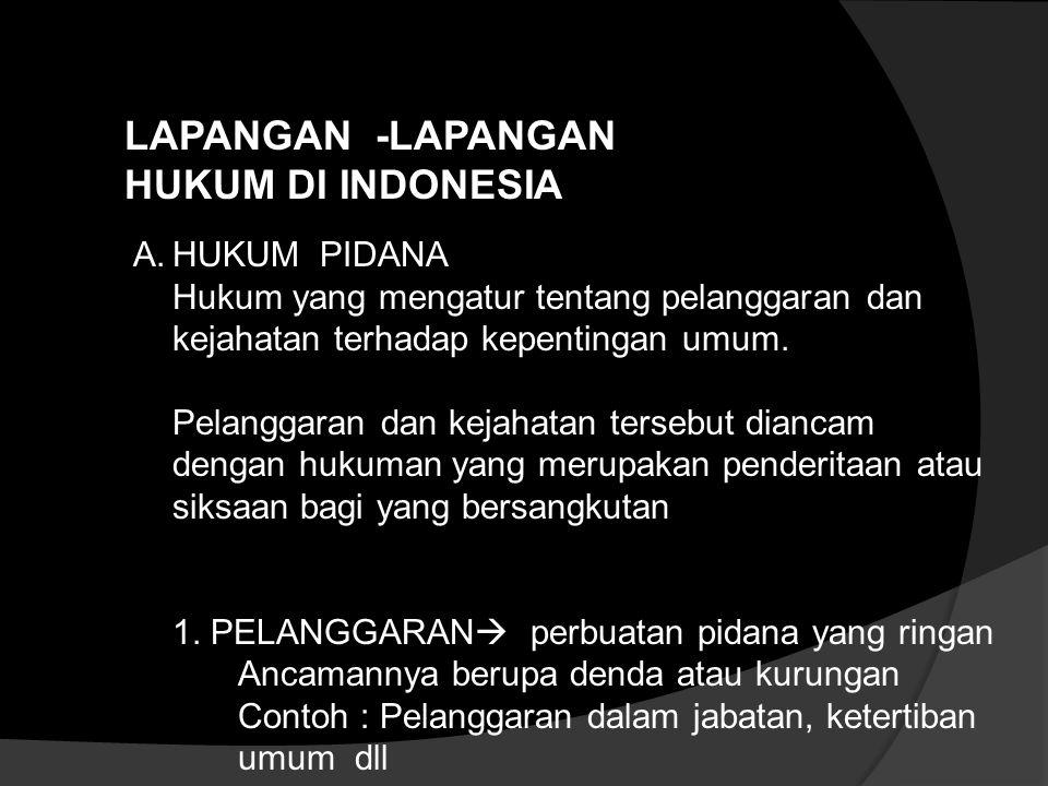 LAPANGAN -LAPANGAN HUKUM DI INDONESIA A.HUKUM PIDANA Hukum yang mengatur tentang pelanggaran dan kejahatan terhadap kepentingan umum.