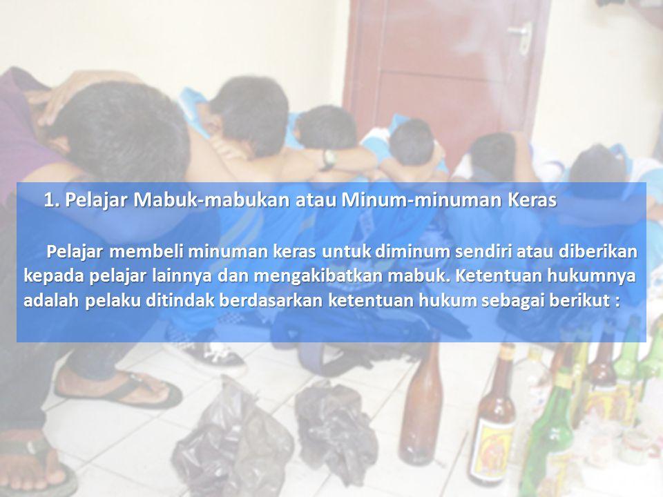 Pasal 300 KHUP Dipidana dengan pidana penjara selama-lamanya 1 tahun atau denda sebanyak-banyaknya Rp.4500,00 : ¤ ke-1 : Barangsiapa dengan sengaja membeli atau menjual minum minuman yang memabukkan, kepada seseorang yang telah kelihatan mabuk.