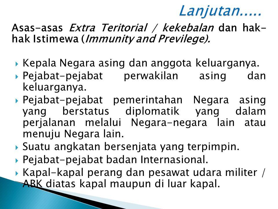 Asas-asas Extra Teritorial / kekebalan dan hak- hak Istimewa (Immunity and Previlege).  Kepala Negara asing dan anggota keluarganya.  Pejabat-pejaba