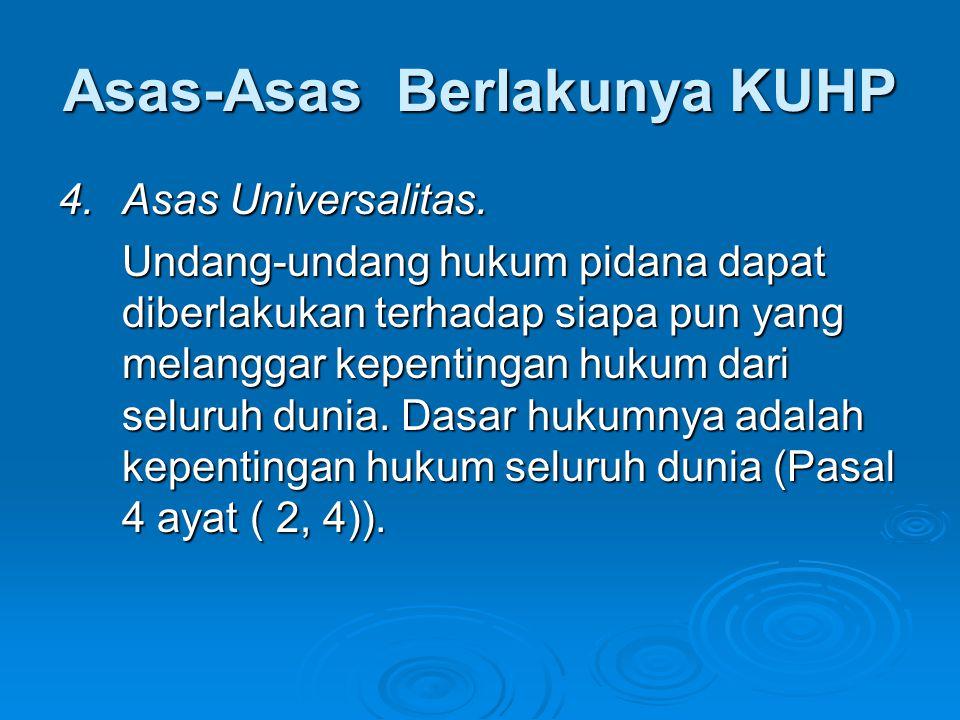 Asas-Asas Berlakunya KUHP 4.Asas Universalitas. Undang-undang hukum pidana dapat diberlakukan terhadap siapa pun yang melanggar kepentingan hukum dari