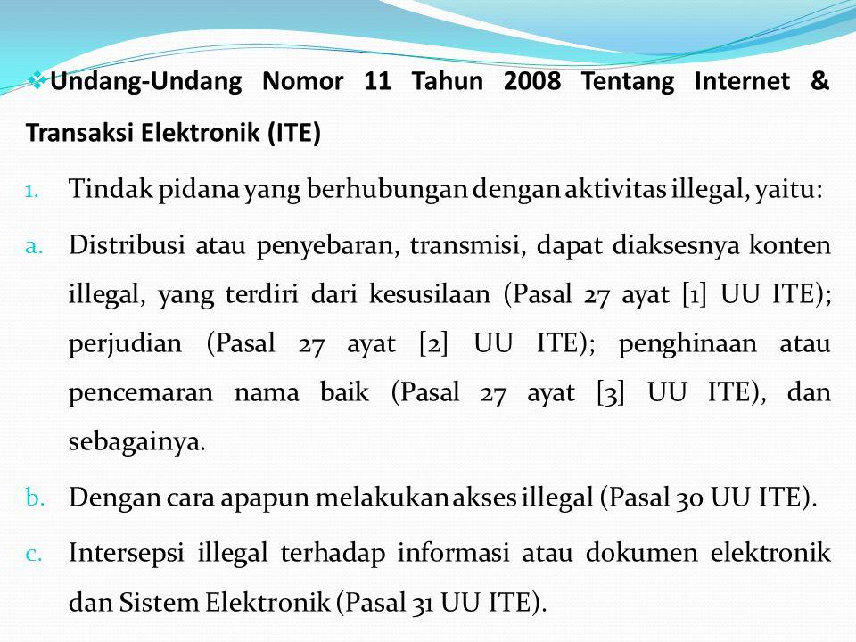 Undang-Undang Nomor 11 Tahun 2008 Tentang Internet & Transaksi Elektronik (ITE) 1.
