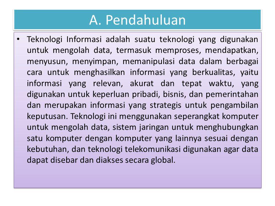 A. Pendahuluan Teknologi Informasi adalah suatu teknologi yang digunakan untuk mengolah data, termasuk memproses, mendapatkan, menyusun, menyimpan, me