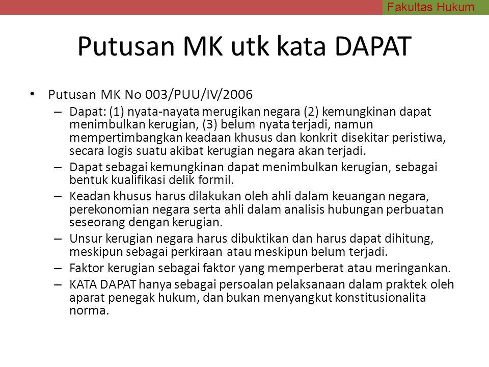 Fakultas Hukum Putusan MK utk kata DAPAT Putusan MK No 003/PUU/IV/2006 – Dapat: (1) nyata-nayata merugikan negara (2) kemungkinan dapat menimbulkan ke