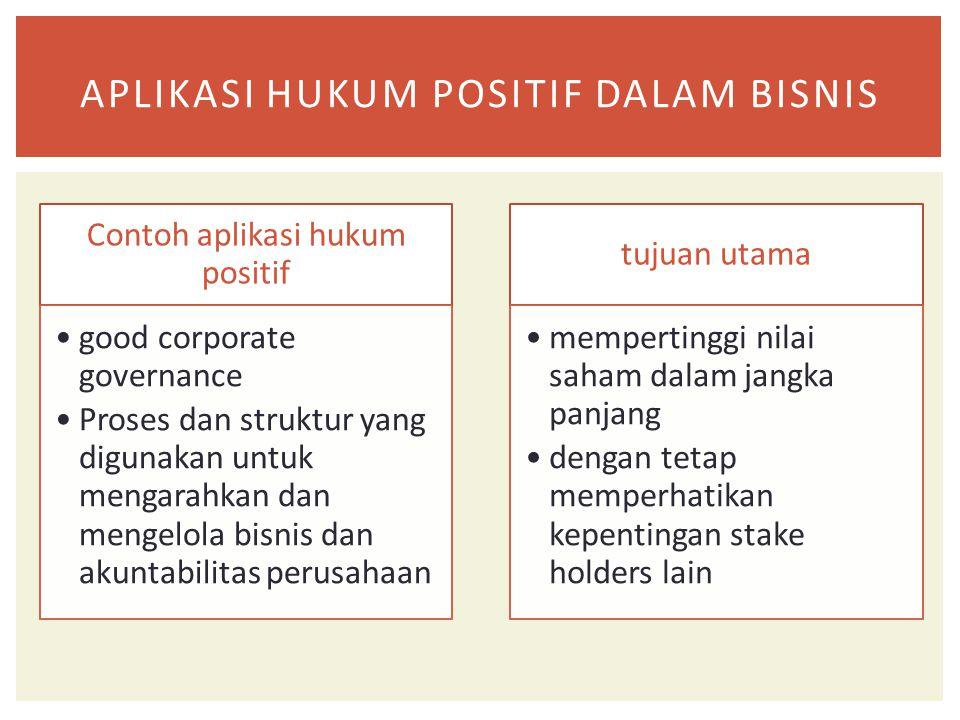 Contoh aplikasi hukum positif good corporate governance Proses dan struktur yang digunakan untuk mengarahkan dan mengelola bisnis dan akuntabilitas pe
