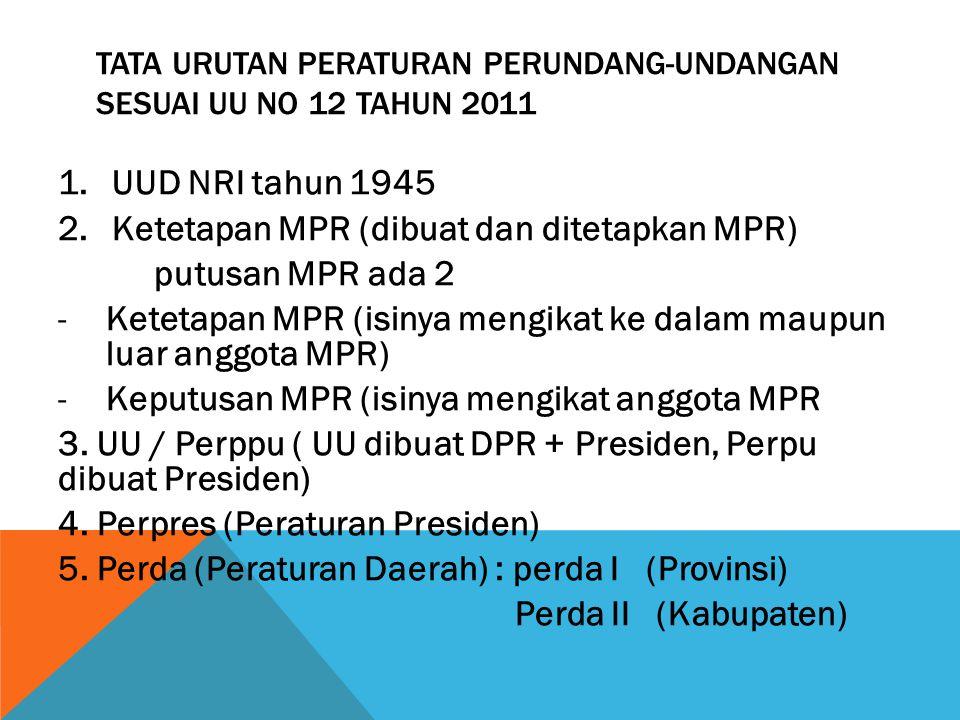 TATA URUTAN PERATURAN PERUNDANG-UNDANGAN SESUAI UU NO 12 TAHUN 2011 1.UUD NRI tahun 1945 2.Ketetapan MPR (dibuat dan ditetapkan MPR) putusan MPR ada 2