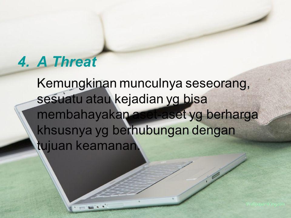 4.A Threat Kemungkinan munculnya seseorang, sesuatu atau kejadian yg bisa membahayakan aset-aset yg berharga khsusnya yg berhubungan dengan tujuan keamanan.