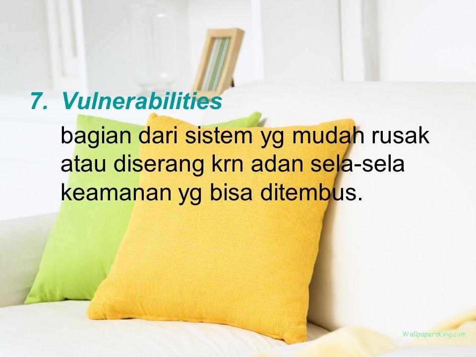 7.Vulnerabilities bagian dari sistem yg mudah rusak atau diserang krn adan sela-sela keamanan yg bisa ditembus.