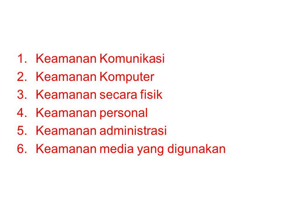 1.Keamanan Komunikasi 2.Keamanan Komputer 3.Keamanan secara fisik 4.Keamanan personal 5.Keamanan administrasi 6.Keamanan media yang digunakan