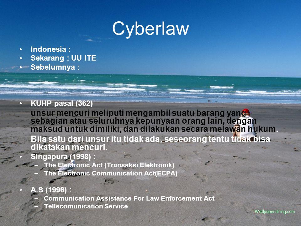 Cyberlaw Indonesia : Sekarang : UU ITE Sebelumnya : KUHP pasal (362) unsur mencuri meliputi mengambil suatu barang yang sebagian atau seluruhnya kepun