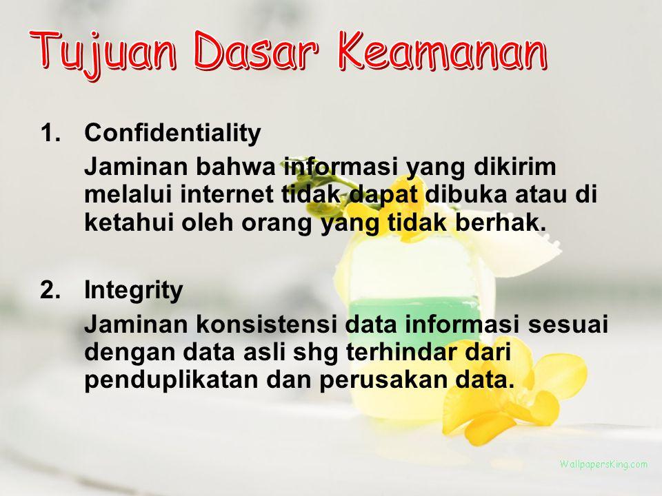 3.Availability Jaminan bhw hanya pengguna sah (orang yang berhak) saja yg bisa mengakses informasi miliknya sendiri 4.Legitimate user Jaminan kepastian bhw sumber informasi tdk diakses oleh org yang tidak berhak/ bertanggung jawab.