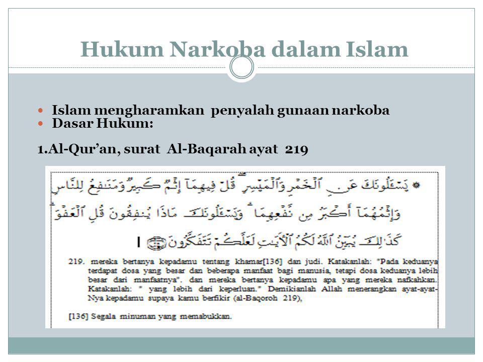 Hukum Narkoba dalam Islam Islam mengharamkan penyalah gunaan narkoba Dasar Hukum: 1.Al-Qur'an, surat Al-Baqarah ayat 219