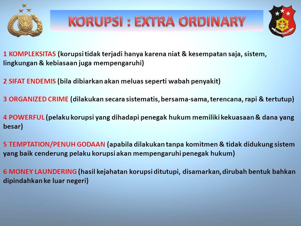 1 KOMPLEKSITAS (korupsi tidak terjadi hanya karena niat & kesempatan saja, sistem, lingkungan & kebiasaan juga mempengaruhi) 2 SIFAT ENDEMIS (bila dib