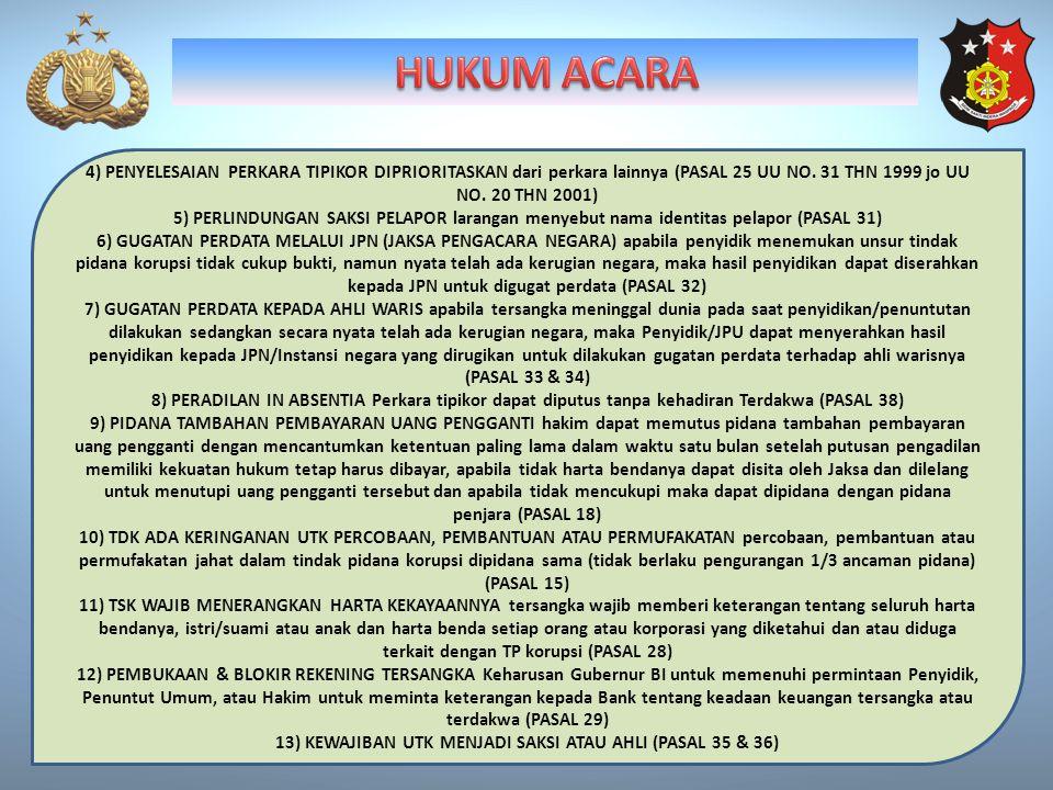 4) PENYELESAIAN PERKARA TIPIKOR DIPRIORITASKAN dari perkara lainnya (PASAL 25 UU NO. 31 THN 1999 jo UU NO. 20 THN 2001) 5) PERLINDUNGAN SAKSI PELAPOR