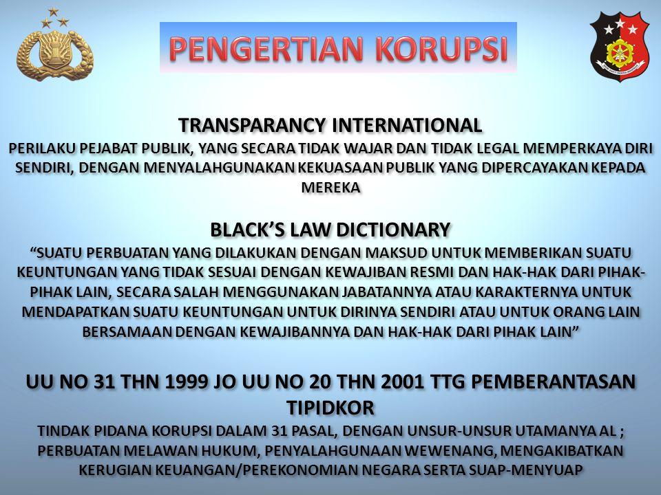 TRANSPARANCY INTERNATIONAL PERILAKU PEJABAT PUBLIK, YANG SECARA TIDAK WAJAR DAN TIDAK LEGAL MEMPERKAYA DIRI SENDIRI, DENGAN MENYALAHGUNAKAN KEKUASAAN PUBLIK YANG DIPERCAYAKAN KEPADA MEREKA TRANSPARANCY INTERNATIONAL PERILAKU PEJABAT PUBLIK, YANG SECARA TIDAK WAJAR DAN TIDAK LEGAL MEMPERKAYA DIRI SENDIRI, DENGAN MENYALAHGUNAKAN KEKUASAAN PUBLIK YANG DIPERCAYAKAN KEPADA MEREKA BLACK'S LAW DICTIONARY SUATU PERBUATAN YANG DILAKUKAN DENGAN MAKSUD UNTUK MEMBERIKAN SUATU KEUNTUNGAN YANG TIDAK SESUAI DENGAN KEWAJIBAN RESMI DAN HAK-HAK DARI PIHAK- PIHAK LAIN, SECARA SALAH MENGGUNAKAN JABATANNYA ATAU KARAKTERNYA UNTUK MENDAPATKAN SUATU KEUNTUNGAN UNTUK DIRINYA SENDIRI ATAU UNTUK ORANG LAIN BERSAMAAN DENGAN KEWAJIBANNYA DAN HAK-HAK DARI PIHAK LAIN BLACK'S LAW DICTIONARY SUATU PERBUATAN YANG DILAKUKAN DENGAN MAKSUD UNTUK MEMBERIKAN SUATU KEUNTUNGAN YANG TIDAK SESUAI DENGAN KEWAJIBAN RESMI DAN HAK-HAK DARI PIHAK- PIHAK LAIN, SECARA SALAH MENGGUNAKAN JABATANNYA ATAU KARAKTERNYA UNTUK MENDAPATKAN SUATU KEUNTUNGAN UNTUK DIRINYA SENDIRI ATAU UNTUK ORANG LAIN BERSAMAAN DENGAN KEWAJIBANNYA DAN HAK-HAK DARI PIHAK LAIN UU NO 31 THN 1999 JO UU NO 20 THN 2001 TTG PEMBERANTASAN TIPIDKOR TINDAK PIDANA KORUPSI DALAM 31 PASAL, DENGAN UNSUR-UNSUR UTAMANYA AL ; PERBUATAN MELAWAN HUKUM, PENYALAHGUNAAN WEWENANG, MENGAKIBATKAN KERUGIAN KEUANGAN/PEREKONOMIAN NEGARA SERTA SUAP-MENYUAP UU NO 31 THN 1999 JO UU NO 20 THN 2001 TTG PEMBERANTASAN TIPIDKOR TINDAK PIDANA KORUPSI DALAM 31 PASAL, DENGAN UNSUR-UNSUR UTAMANYA AL ; PERBUATAN MELAWAN HUKUM, PENYALAHGUNAAN WEWENANG, MENGAKIBATKAN KERUGIAN KEUANGAN/PEREKONOMIAN NEGARA SERTA SUAP-MENYUAP