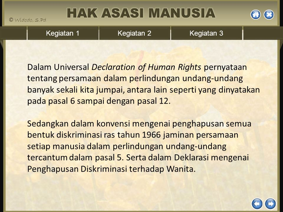 Kegiatan 1Kegiatan 2Kegiatan 3 Dalam Universal Declaration of Human Rights pernyataan tentang persamaan dalam perlindungan undang-undang banyak sekali
