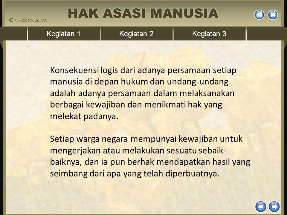 Kegiatan 1Kegiatan 2Kegiatan 3 Konsekuensi logis dari adanya persamaan setiap manusia di depan hukum dan undang-undang adalah adanya persamaan dalam m