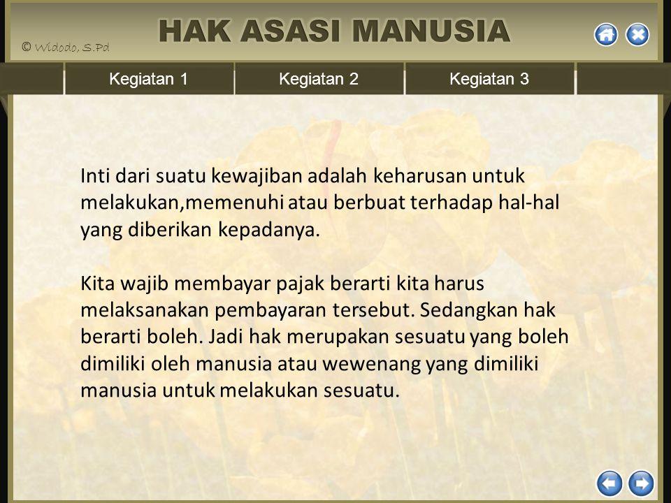 Kegiatan 1Kegiatan 2Kegiatan 3 Inti dari suatu kewajiban adalah keharusan untuk melakukan,memenuhi atau berbuat terhadap hal-hal yang diberikan kepada