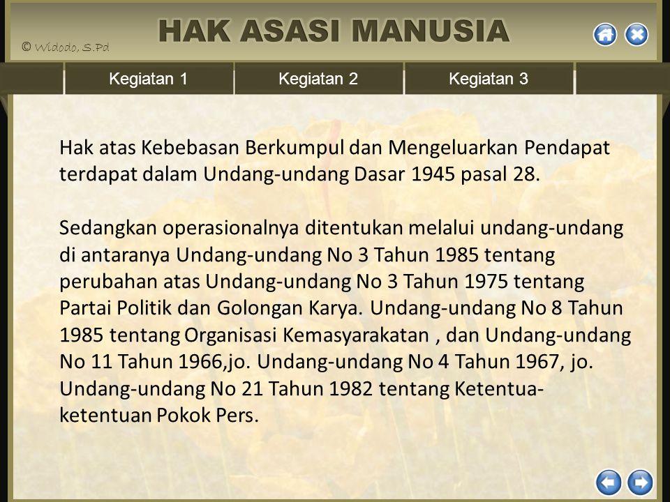 Kegiatan 1Kegiatan 2Kegiatan 3 Hak atas Kebebasan Berkumpul dan Mengeluarkan Pendapat terdapat dalam Undang-undang Dasar 1945 pasal 28. Sedangkan oper