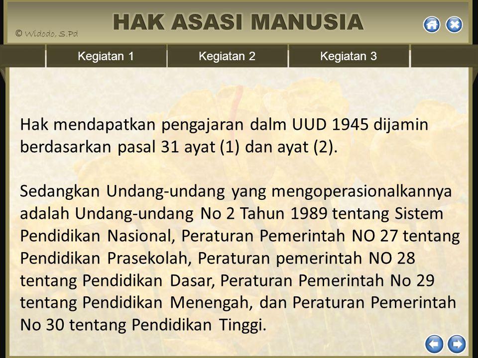 Kegiatan 1Kegiatan 2Kegiatan 3 Hak mendapatkan pengajaran dalm UUD 1945 dijamin berdasarkan pasal 31 ayat (1) dan ayat (2). Sedangkan Undang-undang ya