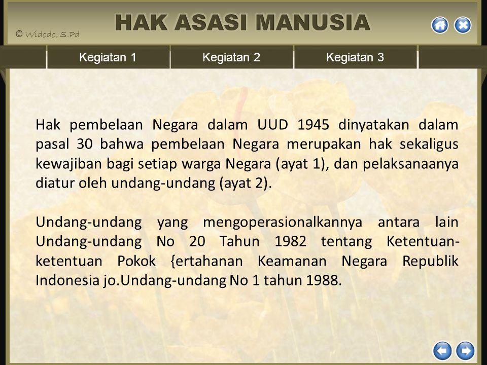 Kegiatan 1Kegiatan 2Kegiatan 3 Hak pembelaan Negara dalam UUD 1945 dinyatakan dalam pasal 30 bahwa pembelaan Negara merupakan hak sekaligus kewajiban