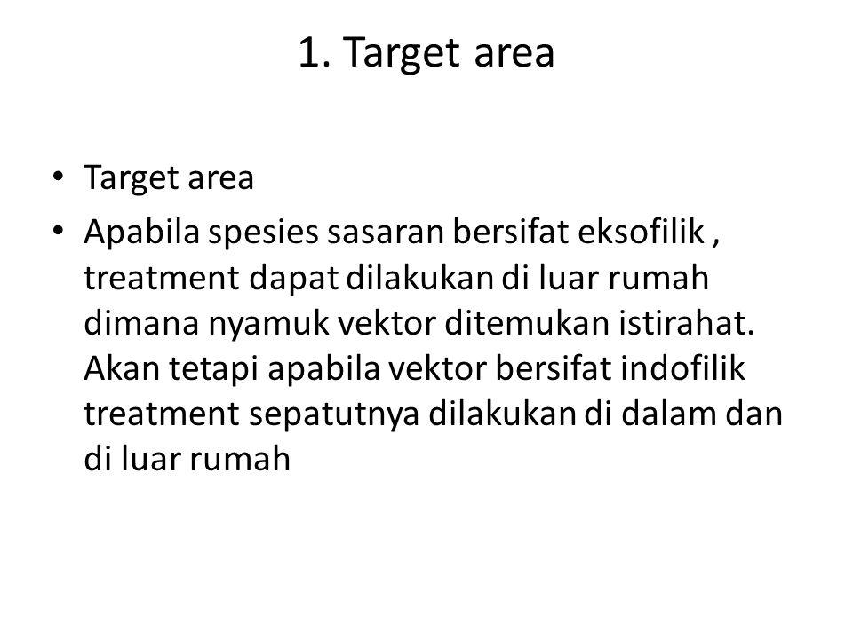 1. Target area Target area Apabila spesies sasaran bersifat eksofilik, treatment dapat dilakukan di luar rumah dimana nyamuk vektor ditemukan istiraha