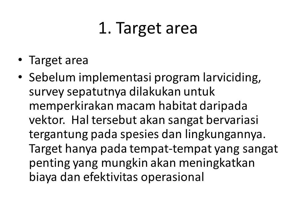 1. Target area Target area Sebelum implementasi program larviciding, survey sepatutnya dilakukan untuk memperkirakan macam habitat daripada vektor. Ha