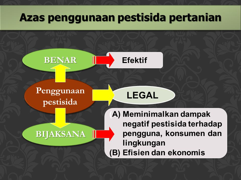 Azas penggunaan pestisida pertanian Penggunaan pestisida Penggunaan pestisida BENARBENAR BIJAKSANABIJAKSANA LEGAL Efektif (A) Meminimalkan dampak nega