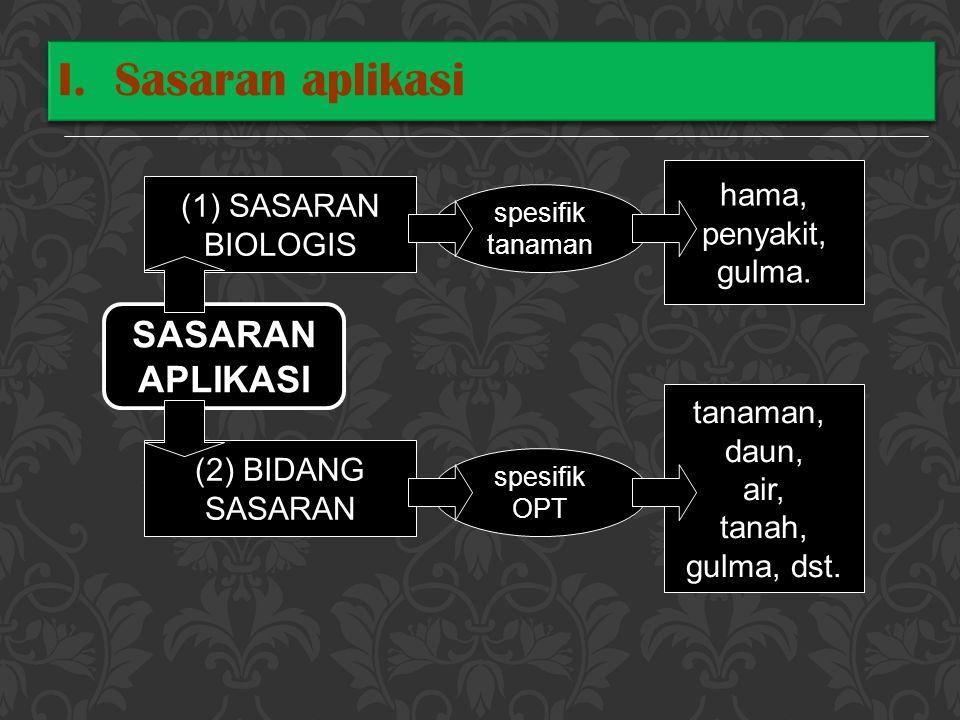 SASARAN APLIKASI (1) SASARAN BIOLOGIS (2) BIDANG SASARAN spesifik tanaman spesifik OPT hama, penyakit, gulma. tanaman, daun, air, tanah, gulma, dst. I