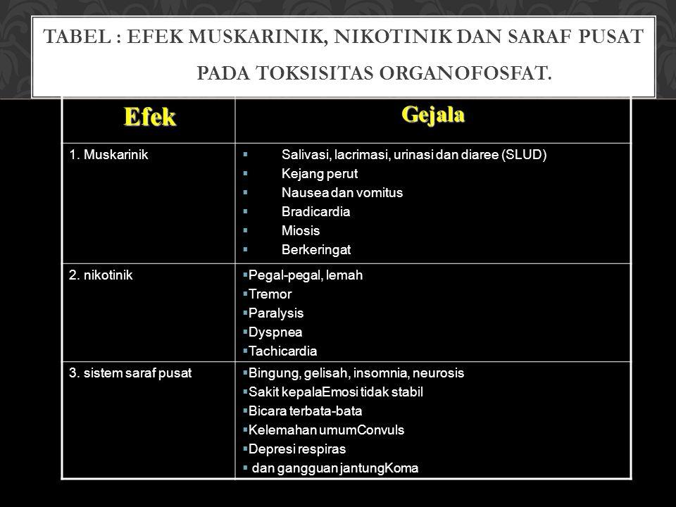 TABEL : EFEK MUSKARINIK, NIKOTINIK DAN SARAF PUSAT PADA TOKSISITAS ORGANOFOSFAT.EfekGejala 1. Muskarinik  Salivasi, lacrimasi, urinasi dan diaree (SL