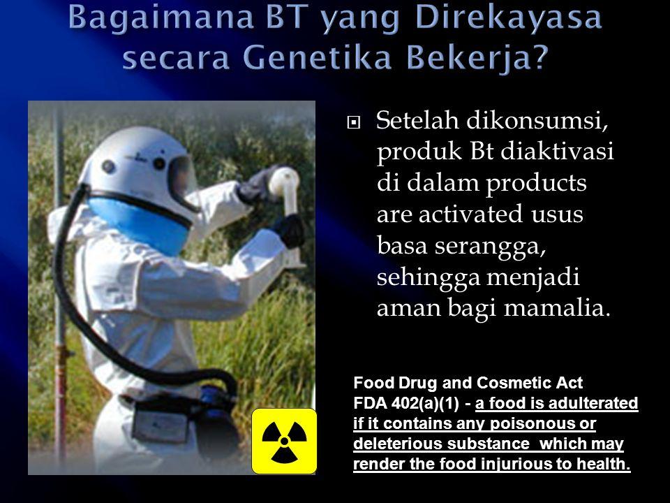  Setelah dikonsumsi, produk Bt diaktivasi di dalam products are activated usus basa serangga, sehingga menjadi aman bagi mamalia. Food Drug and Cosme