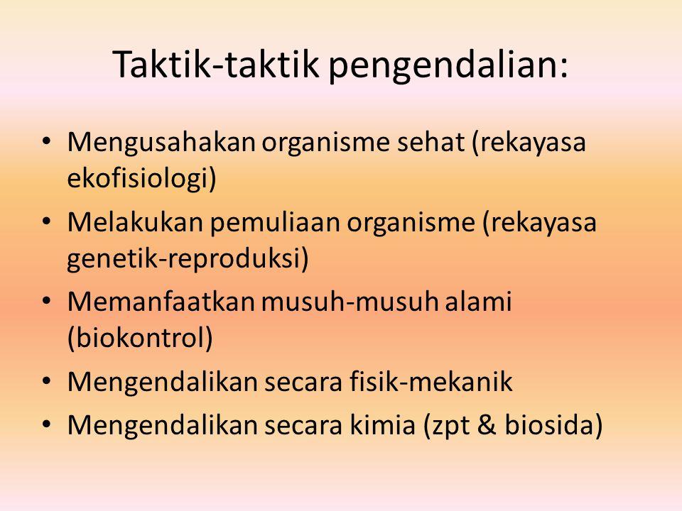 Taktik-taktik pengendalian: Mengusahakan organisme sehat (rekayasa ekofisiologi) Melakukan pemuliaan organisme (rekayasa genetik-reproduksi) Memanfaat