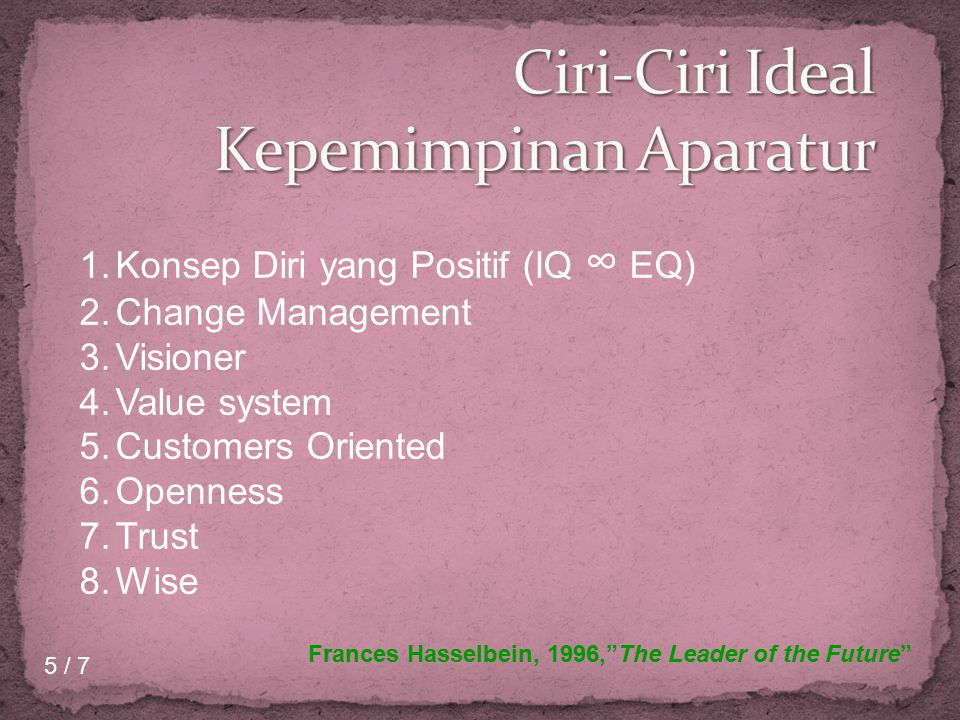 1.Konsep Diri yang Positif (IQ ∞ EQ) 2.Change Management 3.Visioner 4.Value system 5.Customers Oriented 6.Openness 7.Trust 8.Wise Frances Hasselbein,