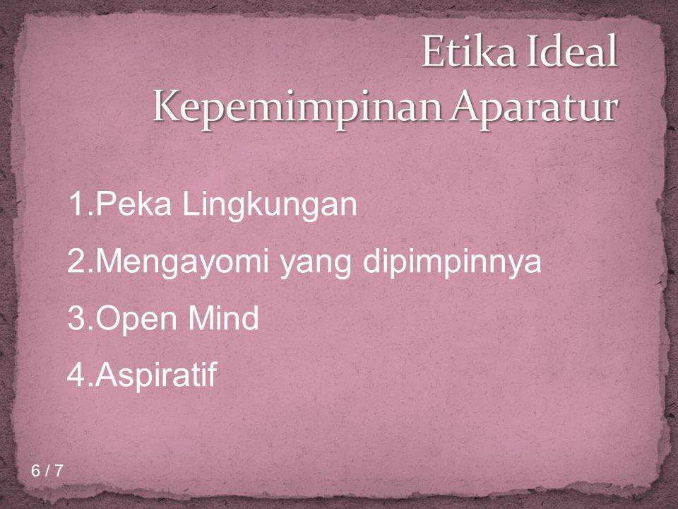 1.Peka Lingkungan 2.Mengayomi yang dipimpinnya 3.Open Mind 4.Aspiratif 6 / 7