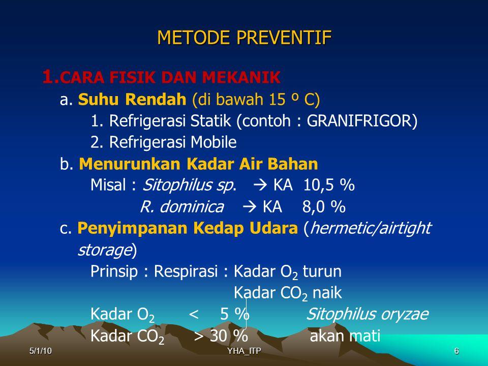 6 METODE PREVENTIF 1.CARA FISIK DAN MEKANIK a. Suhu Rendah (di bawah 15 º C) 1.