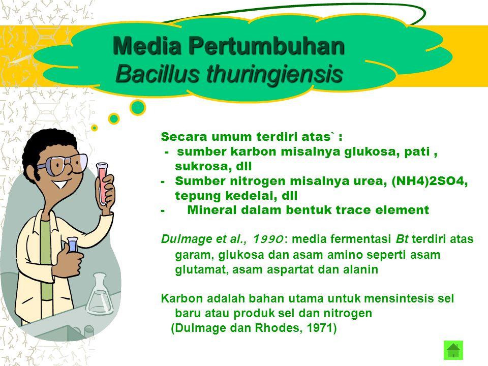 Pertumbuhan Bacillus thuringiensis Media Pertumbuhan & Kondisi Fermentasi Dipengaruhi oleh