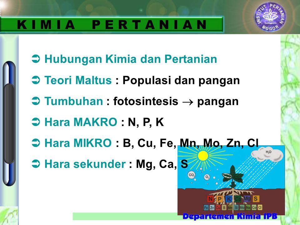 K I M I A P E R T A N I A N  Hubungan Kimia dan Pertanian  Teori Maltus : Populasi dan pangan  Tumbuhan : fotosintesis  pangan  Hara MAKRO : N, P