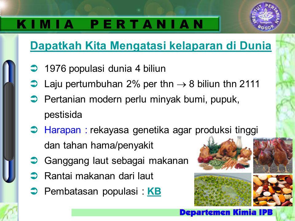 Dapatkah Kita Mengatasi kelaparan di Dunia  1976 populasi dunia 4 biliun  Laju pertumbuhan 2% per thn  8 biliun thn 2111  Pertanian modern perlu m