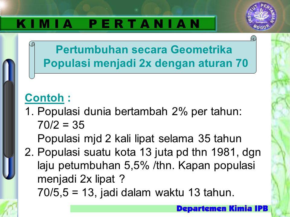 Pertumbuhan secara Geometrika Populasi menjadi 2x dengan aturan 70 Contoh : 1. Populasi dunia bertambah 2% per tahun: 70/2 = 35 Populasi mjd 2 kali li