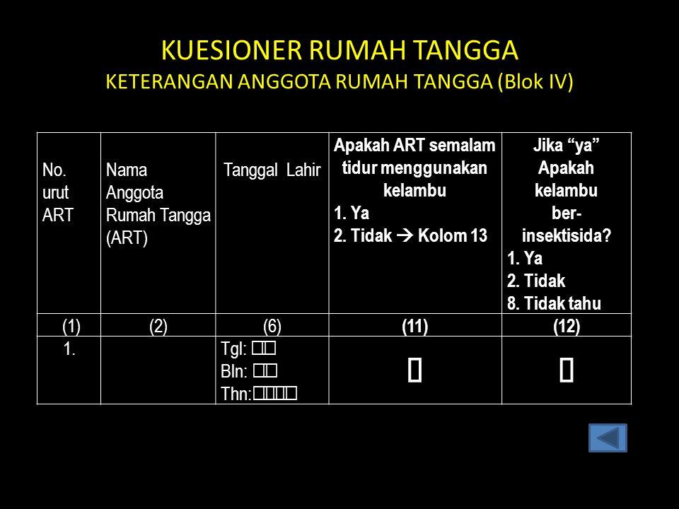 KUESIONER RUMAH TANGGA KETERANGAN ANGGOTA RUMAH TANGGA (Blok IV) No.