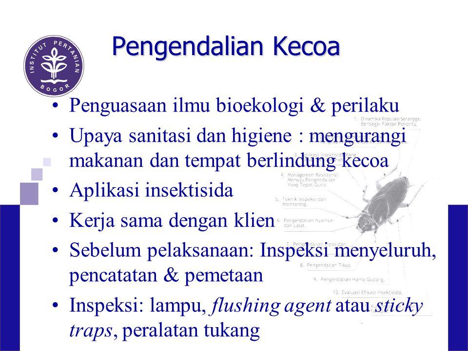 Pengendalian Kecoa Penguasaan ilmu bioekologi & perilaku Upaya sanitasi dan higiene : mengurangi makanan dan tempat berlindung kecoa Aplikasi insektis