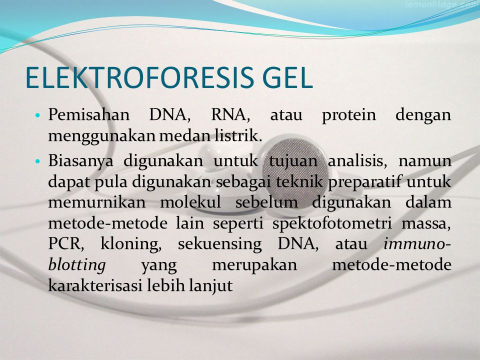 ELEKTROFORESIS GEL Pemisahan DNA, RNA, atau protein dengan menggunakan medan listrik. Biasanya digunakan untuk tujuan analisis, namun dapat pula digun