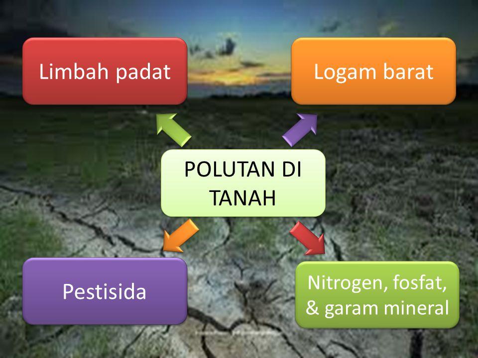POLUTAN DI TANAH POLUTAN DI TANAH Limbah padat Pestisida Logam barat Nitrogen, fosfat, & garam mineral Nitrogen, fosfat, & garam mineral